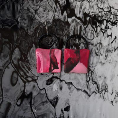 Squares handmade sculpture earrings geometric forms pink black