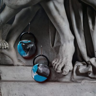 Turquoise handmade sculpture earrings circle shape abstract colors blue black grey white