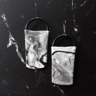 Marble handmade sculpture earrings geometric forms abstract colors grey white black