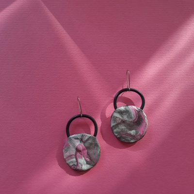 Clock handmade sculpture earrings circle forms abstract colors grey pink white