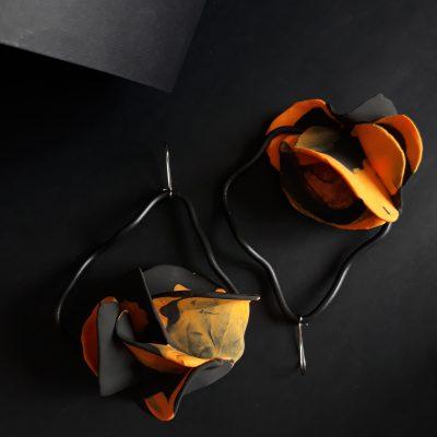 Flowers handmade sculpture earrings orange grey black colors abstract flowers forms