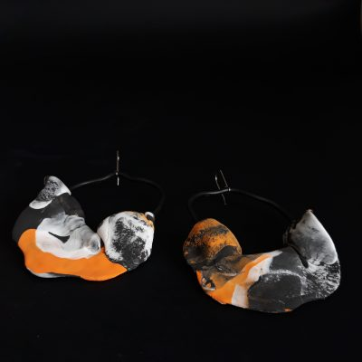 Moons handmade sculpture earrings abstract leaf forms orange grey black white colors