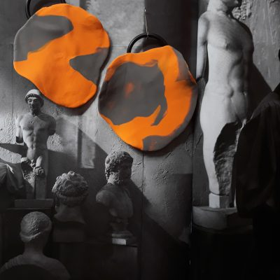 Orange Stone handemade sculpture earrings circle shape