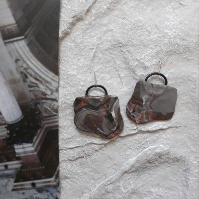 Fragment handmade sculpture earrings geometric forms grey black brown colors