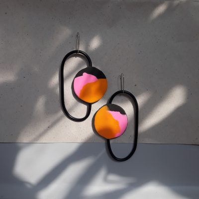 handmade sculpture earrings geometric forms abstract colours