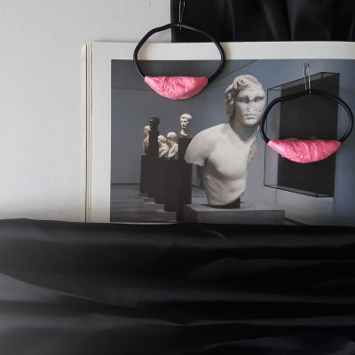 handmade sculpture earrings colors pink geometric forms