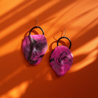 handmade sculpture earrings face froms abstract colours