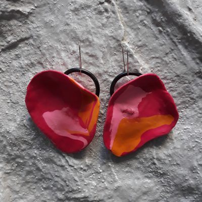 handmade sculpture earrings abstract forms abstract colours