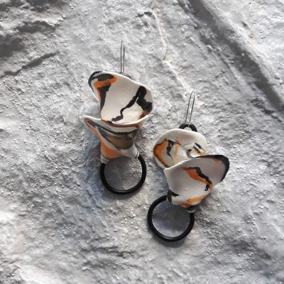 handmade sculpture abstract colours earrings abstract forms