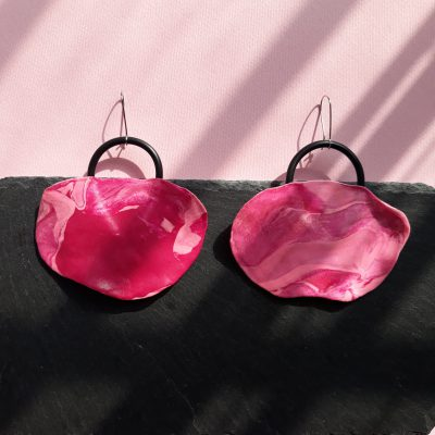 handmade sculpture pink earrings abstract forms