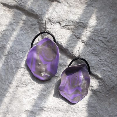 handmade sculpture earrings purple colors abstract forms