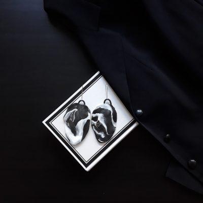 handmade sculpture earrings black white colours leaf forms