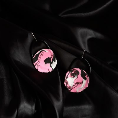 Pink Painting handmade sculpture earrings circle forms abstract colors pink black white