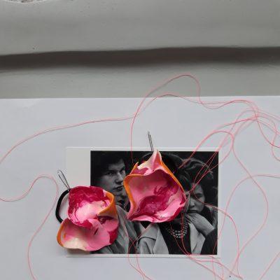 Sculpture women handmade sculpture earrings abstract flowers forms pink orange colours
