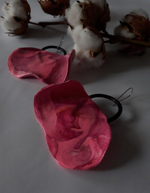 handmade sculpture earrings abstract forms pink colours