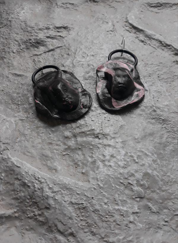 handmade sculpture earrings black face forms