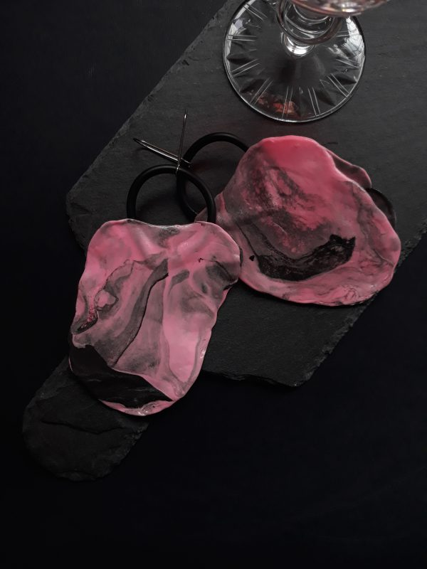 handmade sculpture earrings abstract pink colours leaf forms