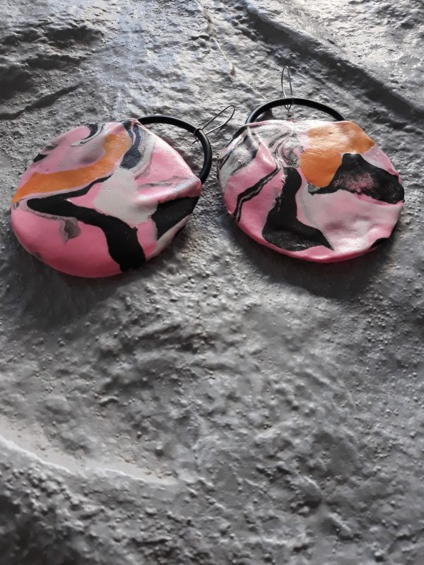 handmade sculpture earrings circle forms abstract colours
