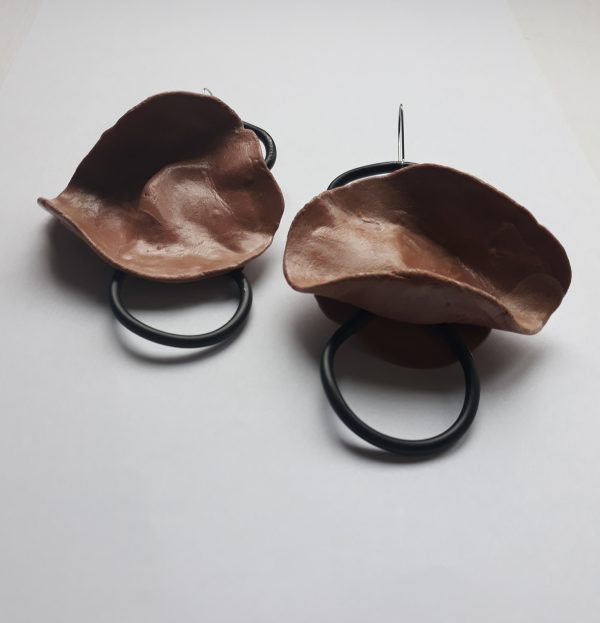 Brown Stone handmade sculpture earrings abstract forms