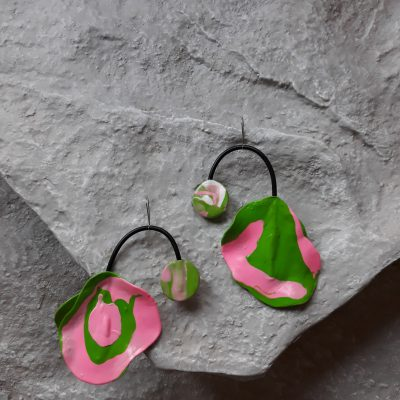handmade sculpture earrings abstract forms green colours