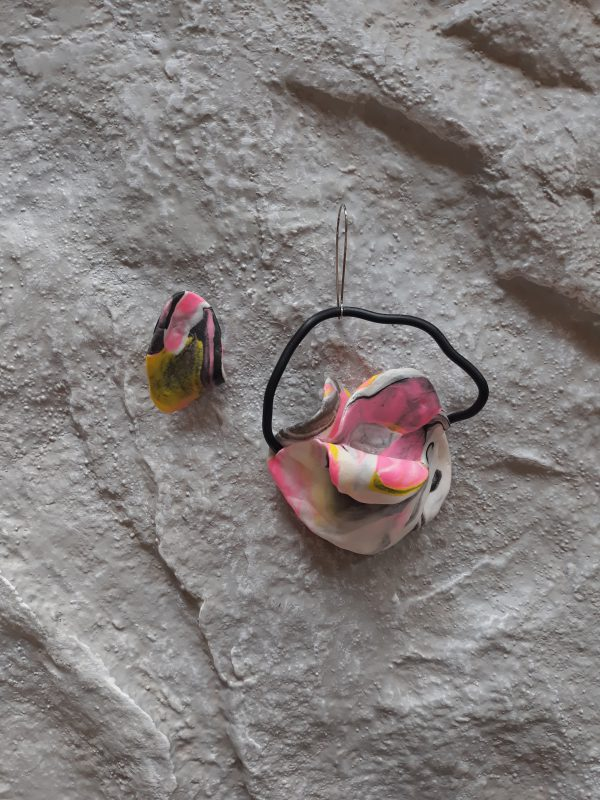 handmade sculpture earrings abstract forms