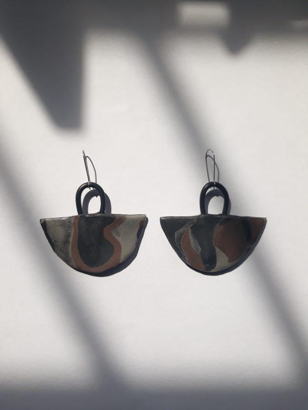 handmade geometric sculpture earrings brown colours