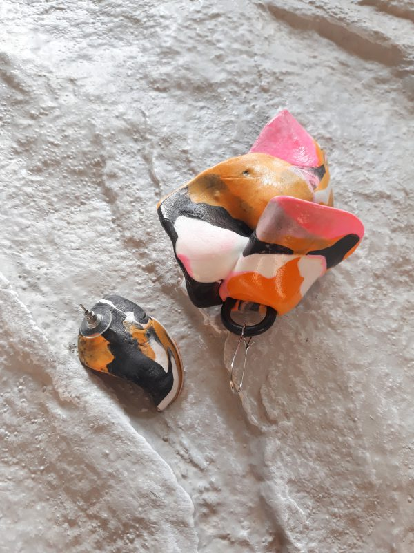 handmade sculpture earrings abstract forms colours