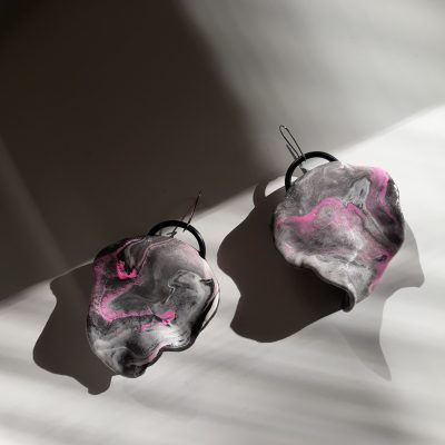 handmade sculpture earrings grey abstract forms