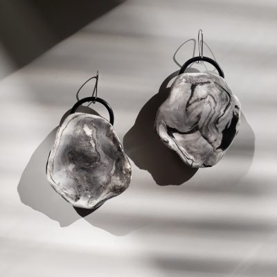 handmade sculpture earrings grey white marble abstract forms
