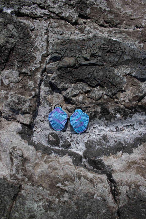 handmade blue leaf sculpture earrings