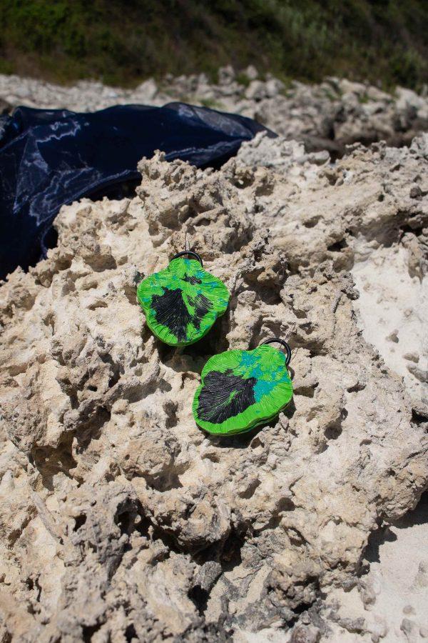 handmade green sculpture earrings leaf forms