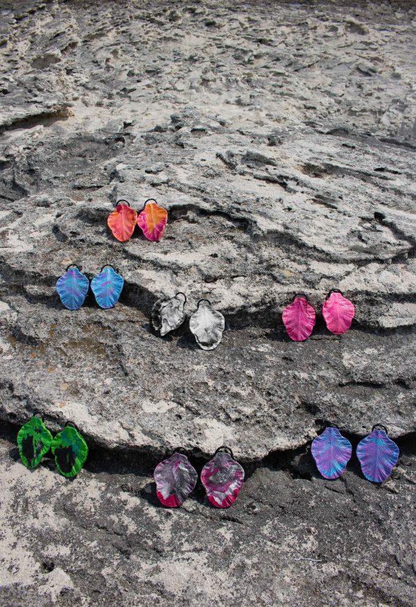 orange blue black white pink green,grey,purple sculpture earrings leaf forms