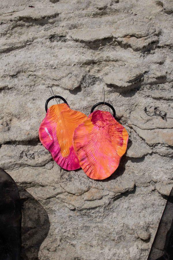 handmade orange pink sculpture earrings leaf forms