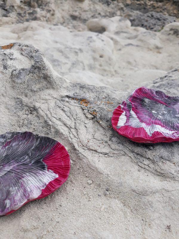 handmade grey purple sculpture earrings leaf forms