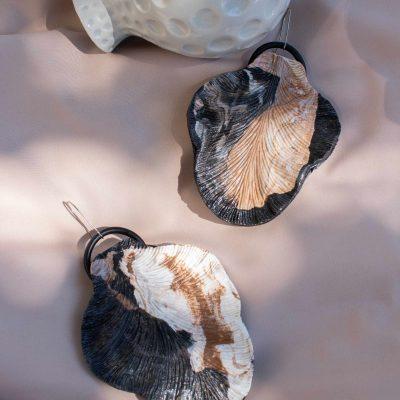 brown sculpture earrings leaft form handmade