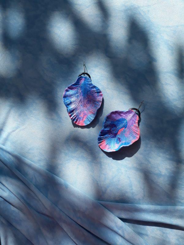 handmade sculpture earrings forms leaves blue purple pink jewellery gift ear