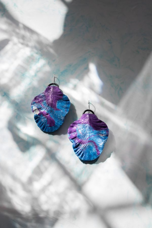 handmade sculpture earrings forms leaves blue jewellery gift