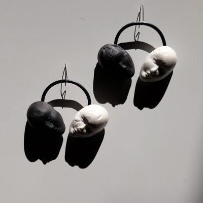 black, white, sculpture, earrings, handmade, fashion, style, ръчна, изработка, обеци, лица, подарък, продукти, мода,