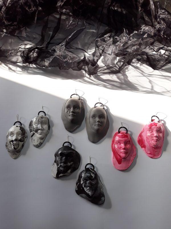 abstract, face, abstractionfaces, sculpture, earrings, gift, present, party, handmade, jewelry, jewellery, pink, black, white, grey, обеци, подарък, специална, ръчна, изработка, лица, абстракция, мода, стил, скулптура, парти, розов, черно, бяло, сиво