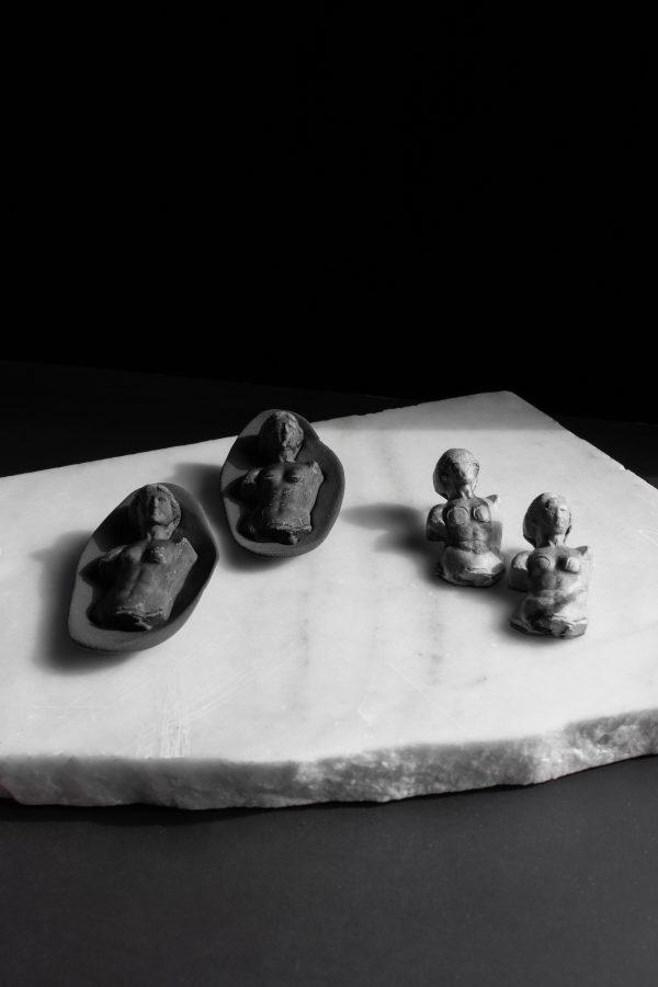 handmade black grey sculpture earrings fashion women venus черни сиви ръчно изработени обеци венери